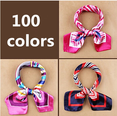 2015 new fashion women's Work wear silk scarf print satin square scarf hotel bank work wear scarf 60*60cm 100 colors(China (Mainland))