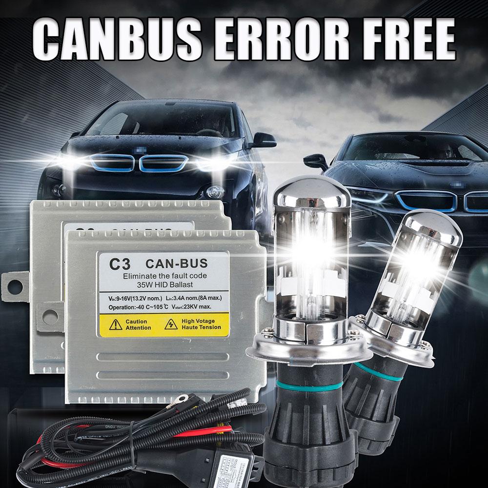 12V C3 35W canbus hid bi xenon lamp kit 35W h4 h13 9004 9007 35W hid hi lo xenon light 4300k 6000k 5000K,Canbus H4 hi lo xenon