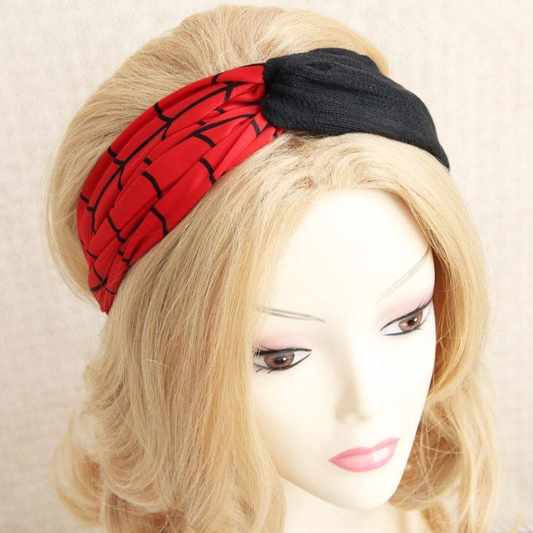 Red Black Patchwork Vintage Headband 2015 New Arrival Bohemian Lady Headwear Retro Women Hair Accessory Sports Headband Bandana(China (Mainland))
