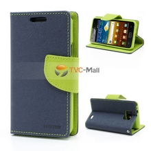 1pcs Blue Mercury Fancy Diary TPU Inner Leather Wallet Flip Card Holder Cover Case For Samsung Galaxy SII S2 I9100 Free Shipping(China (Mainland))