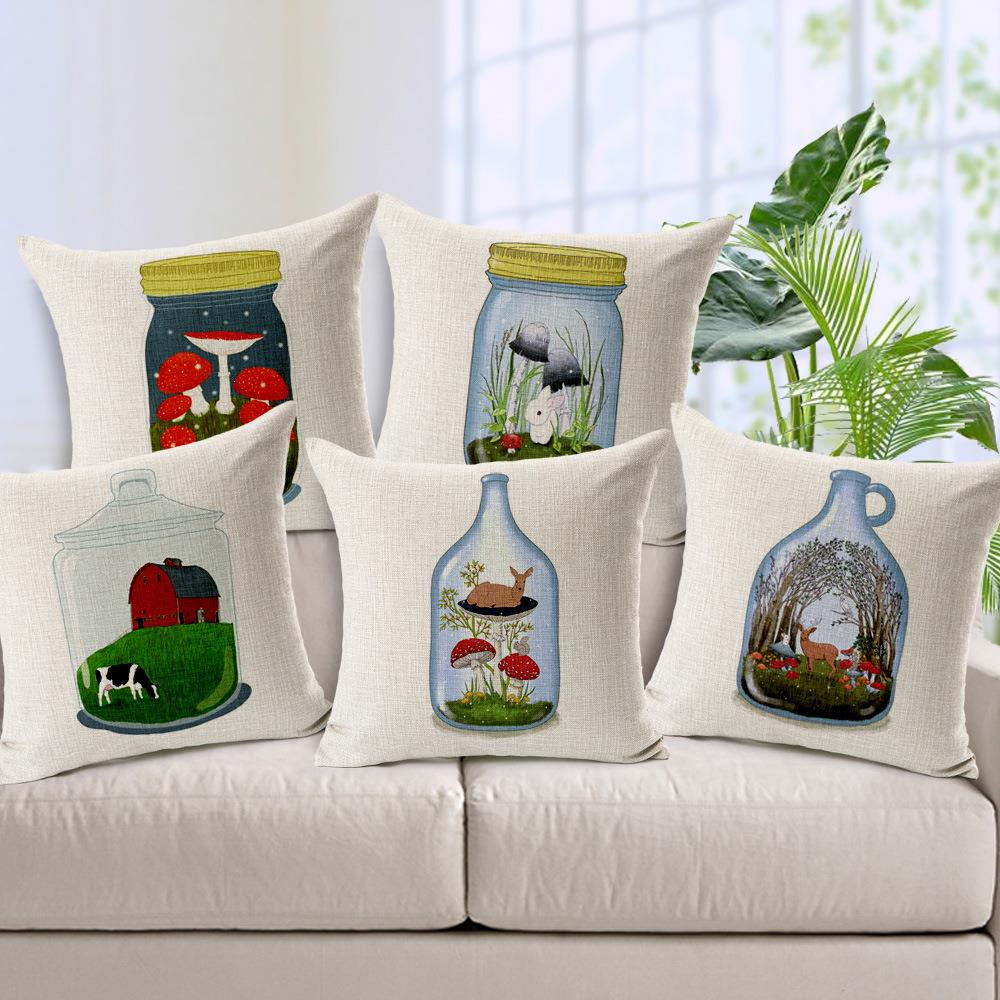 Retro Bottles Deer Pillows Cotton Almofadas Vintage Animal Glass in the world Car Cojines Decor Chair Deer Pillows No filler(China (Mainland))