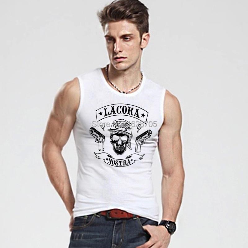 Fashion Basics Fitness Skull Men Tank Tops Tees Round Neck Personalized Undershirts Vests Soft Cotton Fabric Quality Guarantee(China (Mainland))