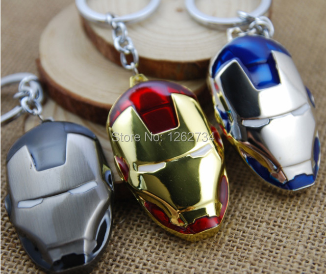 Free Shipping New The Avenge Marvel Super Hero Iron Man Mask Metal Action Figure Keychain Keyring Doll(China (Mainland))