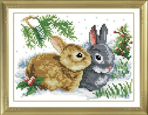 Needlework Arts Home Decor Crafts Kits Diy Embroidery Cross Stitch Sets Rabbit On