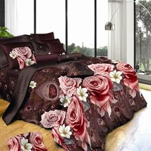 Large size Peach Floral Bedding Sets 3D Flower Bedlinen Rose Duvet Cover King Size Flat Sheets(China (Mainland))