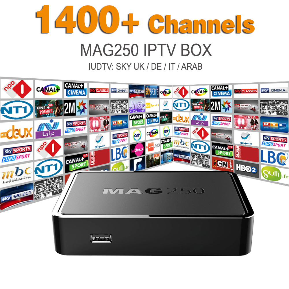Mag 250 Linux System IPTV Set Top Box HD 1080p IPTV Receiver With Europe Arabic Iptv Account Iudtv Sky UK DE IT Potugal Indian(China (Mainland))
