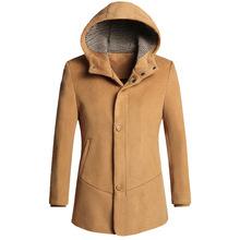 Autumn And Winter Men's Windbreaker Slim Hooded Coat Men Long Wool Jacket Woolen Blends Coat Outerwear Khaki Wine Blue(China (Mainland))