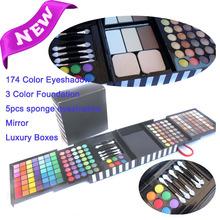 Hot eBay\ aliexpress 177 color eye shadow, repair capacity, lip, brow powder, brush combo with mirror make-up set box for gift(China (Mainland))