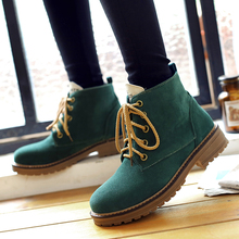 Big Size Ladies Imitation suede Round Toe ankle boots for women Winter boots Fashion lace up platform snow military boots(China (Mainland))