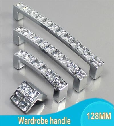 128MM Crystal Glass Furniture Handles Chrome Door Knobs Dresser Drawer Wardrobe Kitchen Cabinets Cupboard Pull Door Accessories(China (Mainland))
