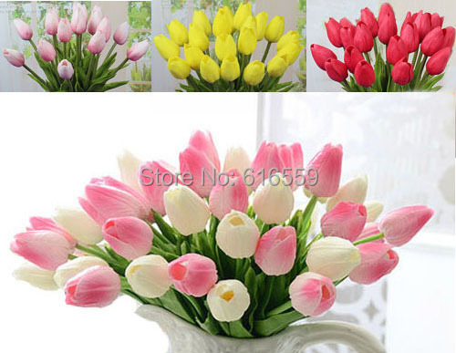 12pcs/lot High quality PU Mini Tulip Artificial Flowers Wedding Party Home Decorative Flowers Desktop Home Decoration(no vase)(China (Mainland))