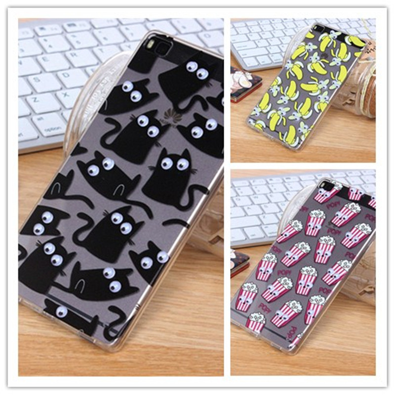 3D Move Eyes Unicorn French fries Donuts Popcorn Silicone TPU Case Huawei P8 Lite mini Transparent Cover Phone Cases  -  Vanzeo Electronics Co.,Ltd store