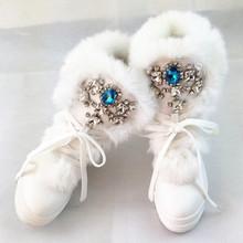 Botas de diamantes de Imitación de Diamante de Moda Real de Piel de Conejo de Invierno Botas de Nieve Caliente de Espesor de Alta-Top Zapatos de Las Mujeres de Gran Tamaño 41 Botas de invierno(China (Mainland))