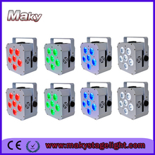 8PCS/ lot hot sale 6pcs led cube par RGBWA+UV flat can little battery wireless slim par wedding decoration lighting equipment(China (Mainland))