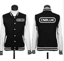 CNBLUE KPOP 2016 coat Korean version men women black White Mixed colors Cotton Letters printed Single-breasted Baseball uniform(China (Mainland))
