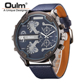 Famous Designer Mens Watches Top Brand Luxury Quartz Watch Oulm Leather Strap Big Face Military Quartz