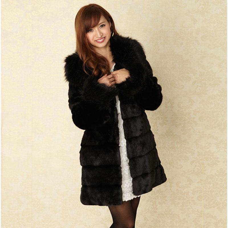Fashion Fox Fur Collar and Cuff Medium-long Rabbit Fur Coat for Women Winter Overcoat Plus Size Women's Faux Fur Coats Black(China (Mainland))