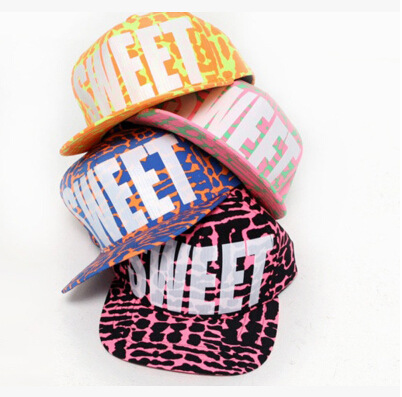 2015Free Shipping Cotton Snapback Hats Cap Fitted Baseball Cap Sweet Fluorescent 4 Colors Casual Hip Hop Caps Hats for Women Men(China (Mainland))