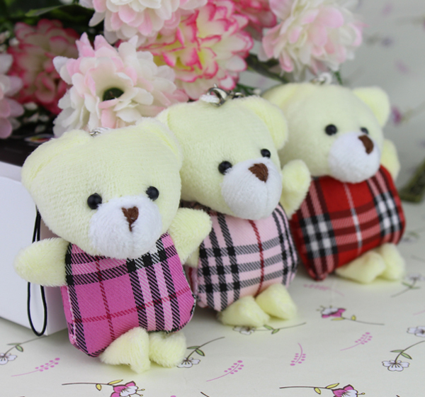 mini Grid clothes Teddy Bear,plush toys cartoon bouquet doll Flower Packing/Christmas Gifts 40pcs/lot(China (Mainland))