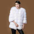 Real fur fox coat women s girl white short o neck three quarter slim fashion full