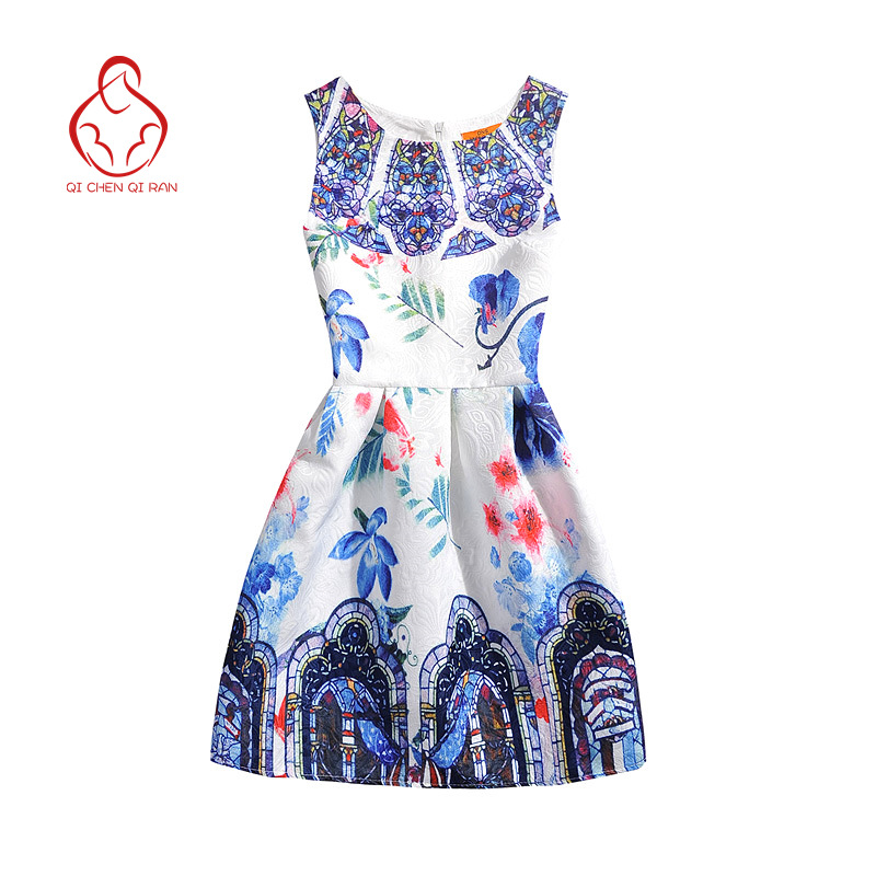 Girls Summer Dress 2016 Girl print dress girl princess dress clothes 6-12 years old children's clothing brand of high-quality(China (Mainland))