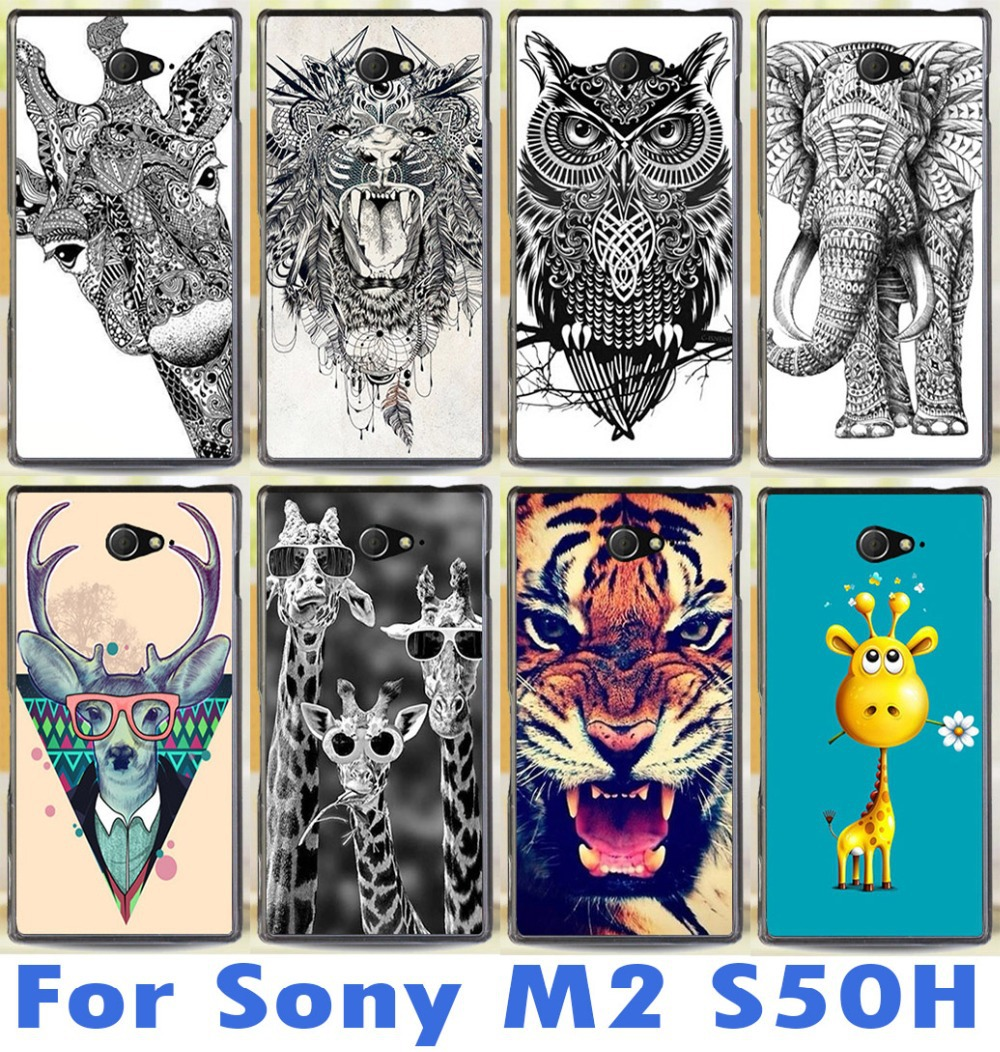 colrful animal case For Sony Xperia M2 S50h Dual D2302 D2305 D2303 D2306 cell phone case cover beautiful tiger cute lovely deer(China (Mainland))