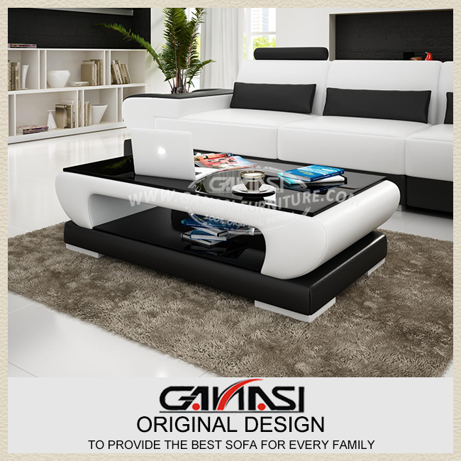 Simple modern fashion glass coffee table Leather cover coffee table living room coffee table(China (Mainland))