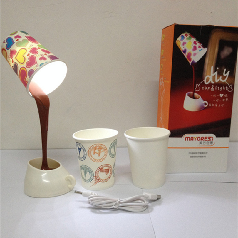 Creative bedroom pour coffee table lamp, night light for children, push-button switch USB / battery coffee light, height 24.5cm<br><br>Aliexpress