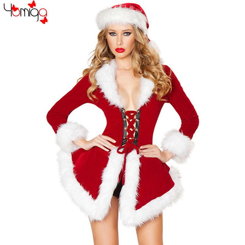 Fashion Long Sleeves Hollow Out Christmas Costume For Women New Year Cos play Costumes Uniform Carnival Sexy Santa Claus Costume(China (Mainland))