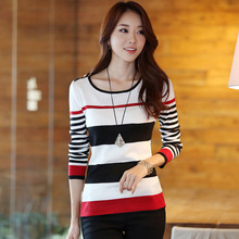 pull femme New Sweaters 2015 Women Fashion Christmas Knitted Sweater Striped Pattern Pullover Casual Slim Suit Jumper Tops(China (Mainland))