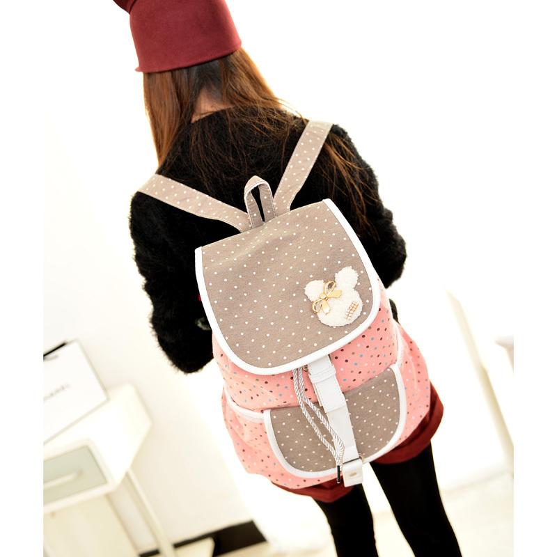 2015 Canvas Polka Dot String Women Backpacks School Bags for Teenager Girls Bolsas Mochilas Escolares Femininas Rucksacks M14(China (Mainland))
