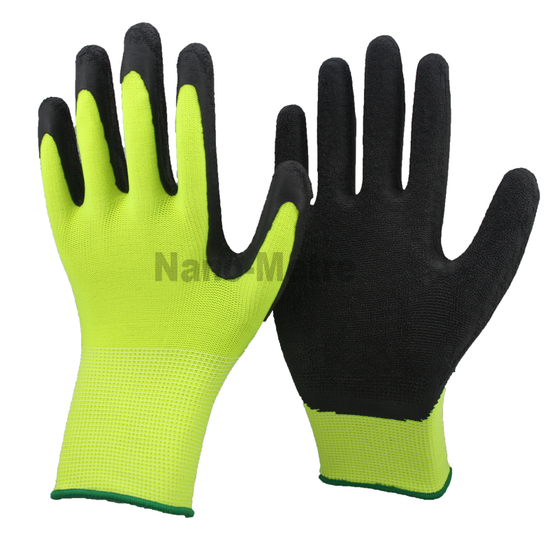 NMSAFETY 13G knit nylon/polyester liner palm latex coated safety gloves for garden Elasticated cuff, Seamless knit(China (Mainland))