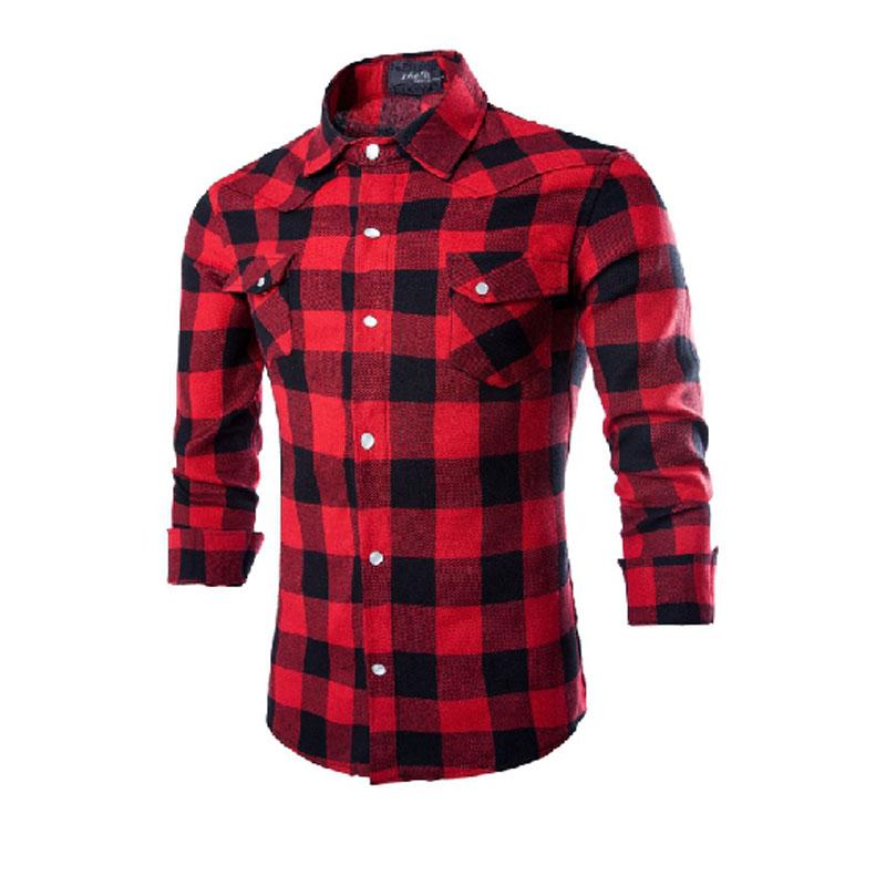 Men 39 s red and black plaid shirt for Black plaid shirt mens