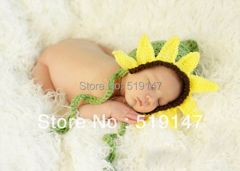 Free shipping sunflower style baby hat handmade crochet photography props newborn baby cap