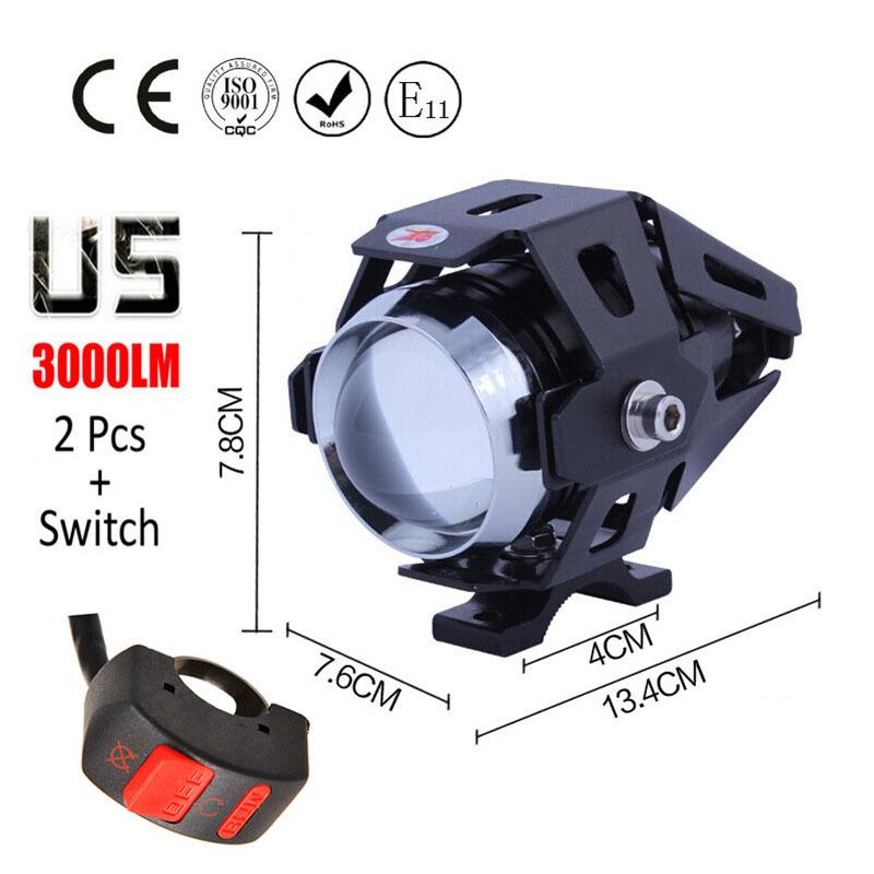 2 pcs 125W motorcycle spotlights auxiliary lamp bright U5 Cree led chip motobike headlights accessories moto car work fog light