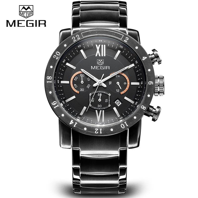 Megir CHRONOGRAPH 24 Hours Function Sport Watch Business Watches Full Steel Dress Wristwatch Fashion Casual Mens Watch Relogio<br><br>Aliexpress