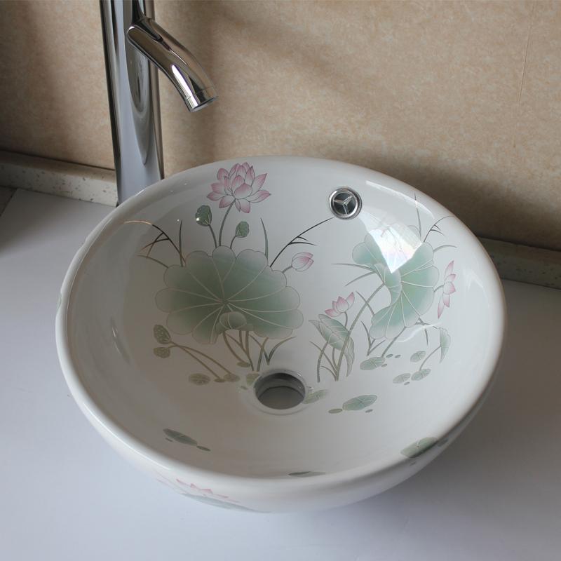 Glaze counter basin wash basin circle bathroom basin cabinet(China (Mainland))