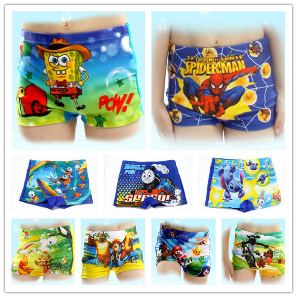 2015 New Summer Trunks Cartoon Baby Kid Child Boy Swimming Spiderman cartoons Costume T04