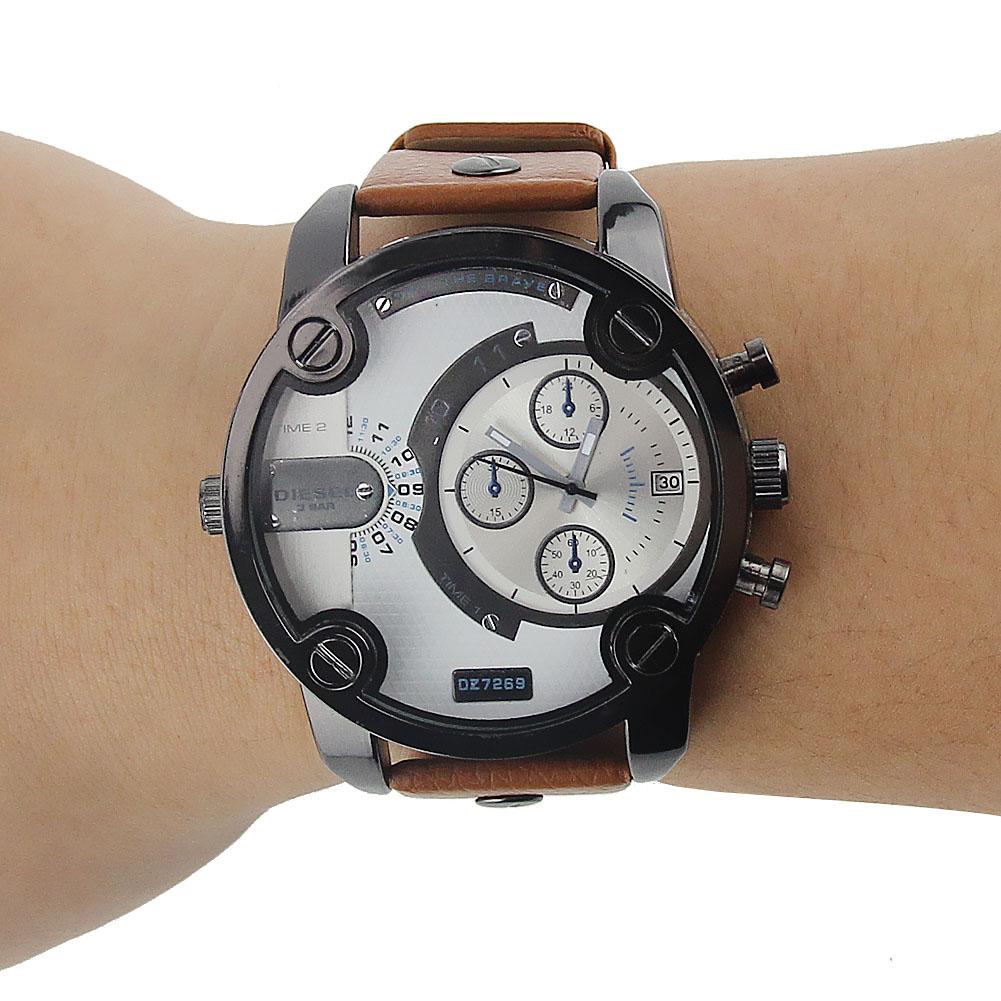 Oversized Case Mutiple Dials Date Display Rubber Strap Quartz Watch For Men HB88<br><br>Aliexpress
