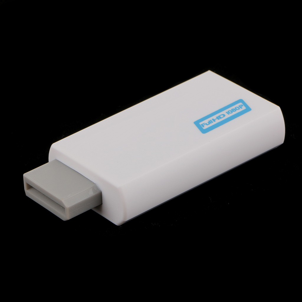 3.5mm Audio Video Converter Adapter 1080P   Upscaling for Wii to HDMI White