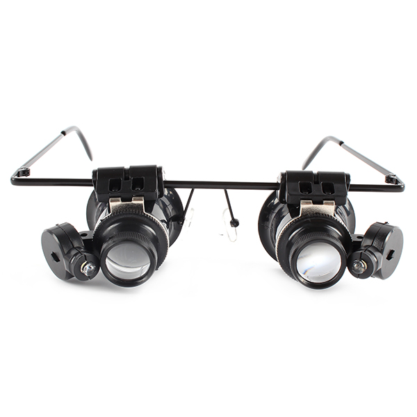 Jeweler Magnifying Glasses 20X Glasses Type Watch Repair Magnifier LED Light