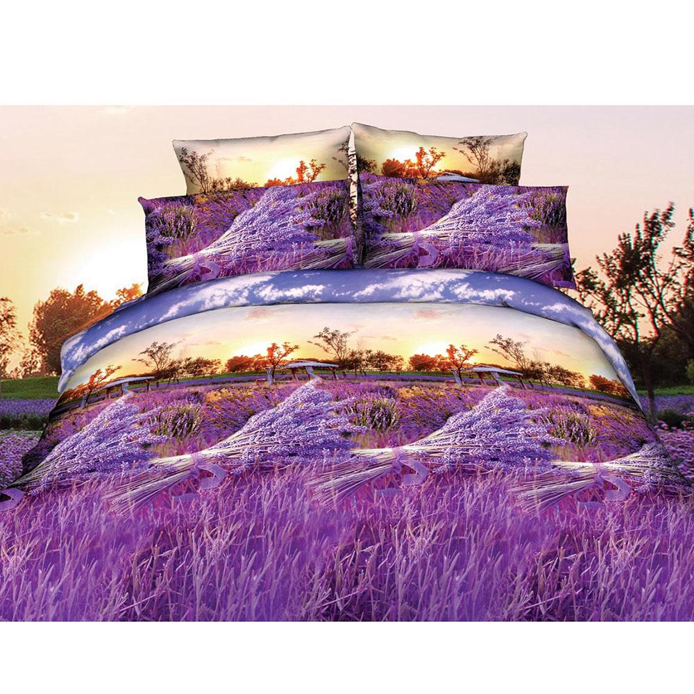 4pcs 3D Printed Bedding Set Bedclothes Purple Lavender Queen Size Duvet Cover+Bed Sheet+2 Pillowcases Home Textiles(China (Mainland))