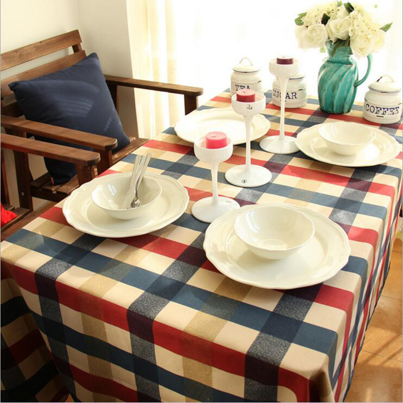 literary artistic plaid table cloth rectangular linen cotton printed tablecloth with lace home wedding table cover manteles(China (Mainland))