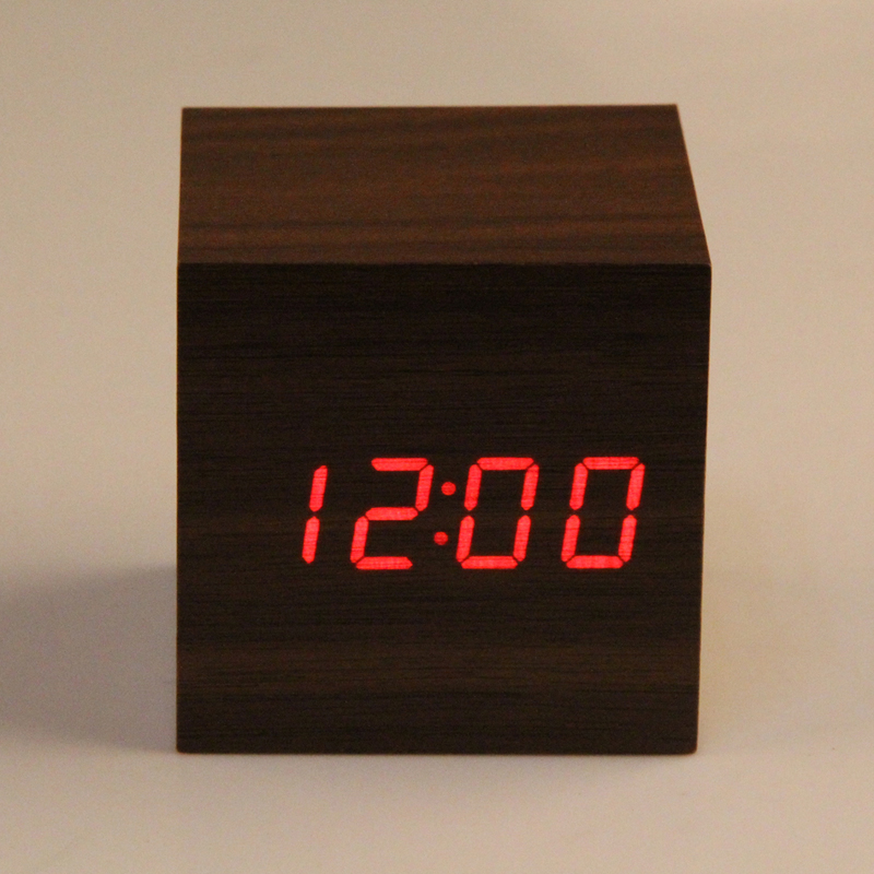 Wooden Cube LED Alarm Clock Sounds Control With Temperature Display Electronic Digital Desktop Table Clocks Red LED(China (Mainland))