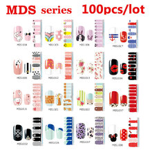 100pcs Hot Melodi Nail Stickers Cartoon Bow Designs Nail Tips Wraps DIY Nail Patch Art Decoration Fingernail Beauty Tools