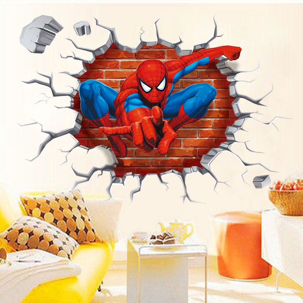Spider-dimensional wall stickers children's room bedroom backdrop removable home decor & - Shanghai Paradise decoration store