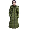 New Ladies Solid Color Thickening Long Cotton Coat Embroidery Pattern Jackets Drawstring Cotton Outwear with Zipper