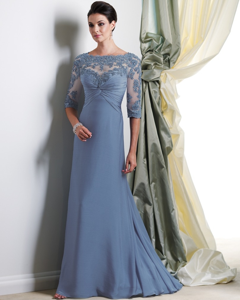 Full length gowns dress for mother of the bride lace for Dresses for wedding mother of the groom