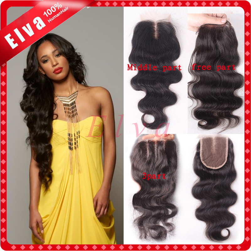 7A Peruvian Lace Closure Bleached Knots 4*4 Body Wave Human Hair Closure With Baby Hair Front Closure Free Middle 3 Part Closure()