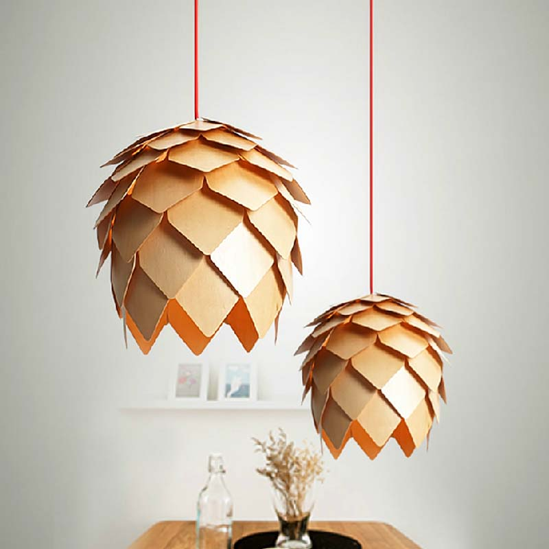 wooden pendant light fixture wood lamp designer hanging